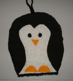 süßer kleiner Pinguin Waschhandschuh (Waschlappen) - Handarbeit kaufen