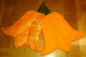 1 Paar orangene Tulpen Topflappen - damit der Frühling kommen kann
