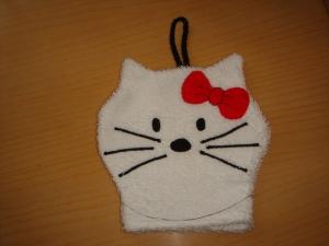 Waschhandschuh (Waschlappen) Katze mit Schleife