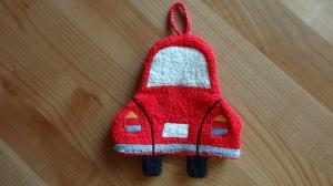rotes Auto als Waschlappen (Waschhandschuh) für Kinder - Handarbeit kaufen
