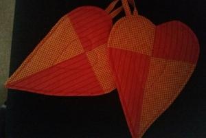 rot-orange karierte Herztopflappen - für Junge oder Verliebte