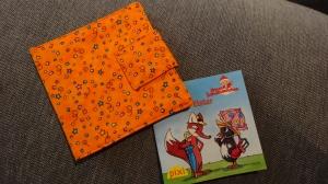 Pixibuchhülle in orange, genäht für die kleinen Pixibücher