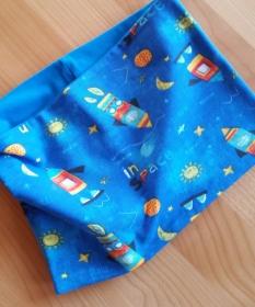 blauer Schlauchschal für den Übergang mit Raketen, Sonne, Mond..., Durchmesser 54 cm  - Handarbeit kaufen
