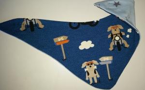 blaues Wendehalstuch mit einem witzigen Hund  - Handarbeit kaufen