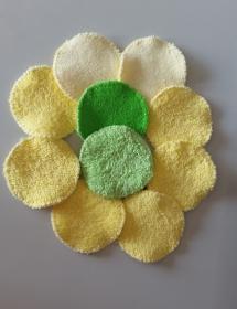10 Frottee-Abschminktabs Durchmesser 7 cm,  8 x in gelb, 2 x in grün - Handarbeit kaufen
