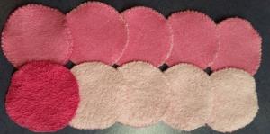 10 Frottee-Abschminktabs Durchmesser 7 cm,  8 x in rosa, 2 x in pink - Handarbeit kaufen