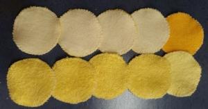 10 Frottee-Abschminktabs Durchmesser 7 cm,  10 x in gelb  - Handarbeit kaufen