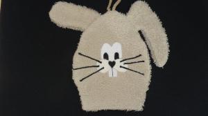 Waschlappen Hase in hellbraun (Waschhandschuh) - Handarbeit kaufen