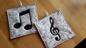 Noten + Notenschlüssel Topflappen für Musikliebhaber