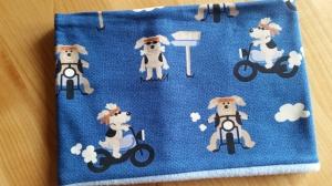 blauer Schlauchschal mit Hunden auf dem Motorrad, Innenseite ist Fleece, Durchmesser 54 cm  - Handarbeit kaufen