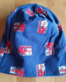 dunkelblaue Beanie mit Feuerwehrautos, Innenseite ist Fleece, für Kopfumfang 54 cm  - Handarbeit kaufen
