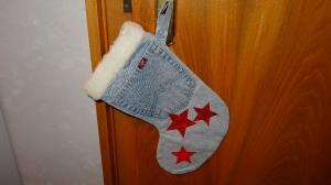 ***  Jeans-Nikolausstiefel zum Aufhängen mit Sternen *** - Handarbeit kaufen