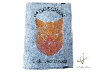 Jagdscheinhülle Filz Waidmannsheil Jäger Geschenk Hülle Jagdschein Hirsch Jagd Waffenbesitzkarte Geweih Jägerin Jagdschein-Hülle Fuchs WBK