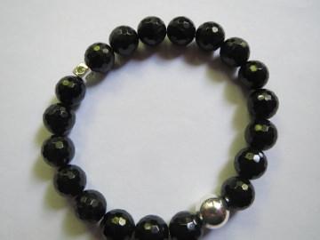 Schörl, schwarzer Turmalin facettiert mit Peridot in Silberwürfel Edelsteinarmband, Unikat