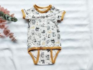 Body Baby, Tiere meliert, Lang- oder Kurzarm, Gr. 50-98 - Handarbeit kaufen