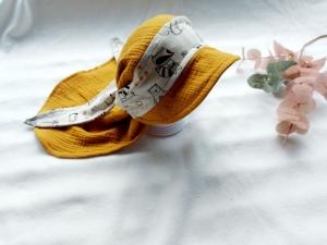 Bandana-Kappe, Hut, Sonnenhut, Sommermütze mit Schirm, Tiere meliert, KU: 40-56 cm - Handarbeit kaufen