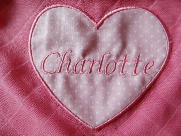 Mullwindel ♥ Spucktuch ♥ Schmusetuch mit eigenem Namen, Farbe: pink