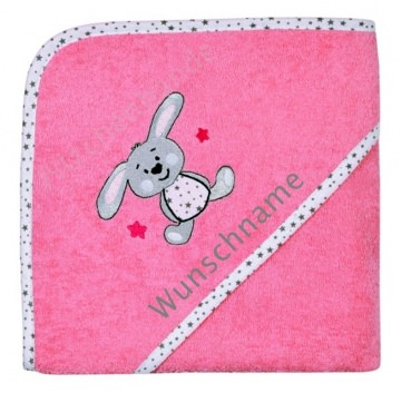 Kapuzenhandtuch/Badetuch rosa mit Wunschnamen und Häschen bestickt, Größe 80 X 80 cm