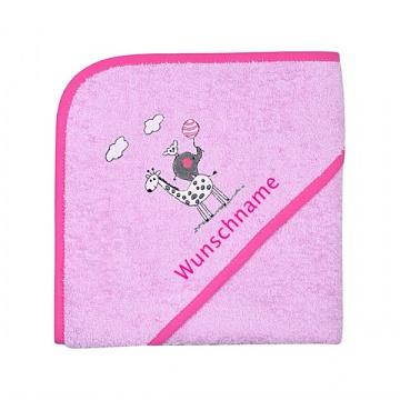 ★ Kapuzenhandtuch/Badetuch rosa mit Wunschnamen bestickt, Größe 80 X 80 cm  ★