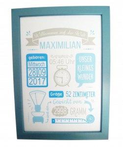 Geburtsdatenbild, Geburtsbild mit Rahmen, A4, blau