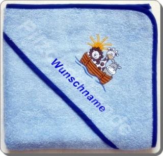 Kapuzenhandtuch/Badetuch Arche, blau mit Wunschnamen bestickt, Größe 80 X 80 cm