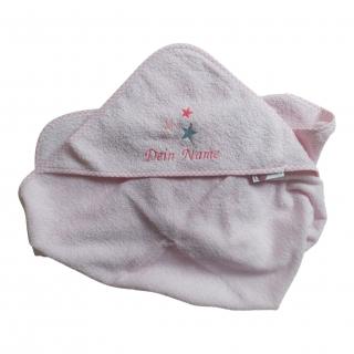 ★ Kapuzenhandtuch/Badetuch rosa mit Wunschnamen bestickt, Motiv Sterne, Größe 80 X 80 cm  ★