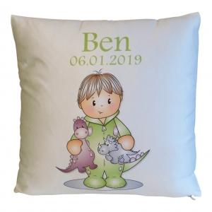 Namenskissen - Babykissen - Kinderkissen - Kissenhülle, personalisiert mit deinem Namen, Motiv Junge mit Dinos , komplett mit Inlett