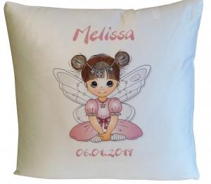 Namenskissen - Babykissen - Kinderkissen - Kissenhülle, personalisiert mit deinem Namen, Motiv kleine Fee , komplett mit Inlett