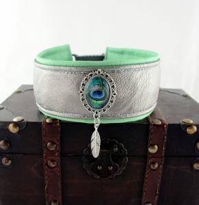 Windhundhalsband Peacock/metallic-silber Zugstopp handgefertigt mit Schmuck-Ornament