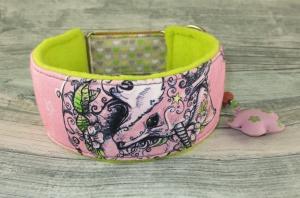 Windhundhalsband Zauberwald Hundehalsband Halsband Windhund Podenco Galgo Zugstopp weich gepolstert mit Fleece Polsterung breit - Handarbeit kaufen