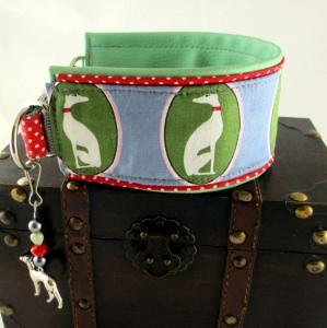 Windhundhalsband  Windspiel grün Hundehalsband Halsband Windund wahlweise Zugstopp Verschluss oder Klickverschluss Kunststoff oder Metall gepolstert mit Kunstleder Polsterung - Handarbeit kaufen