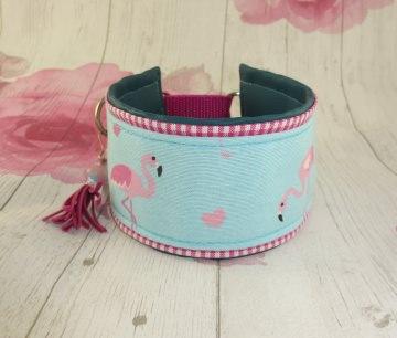 Windhundhalsband  Pretty Flamingo Windhund Collar Hundehalsband Halsband wahlweise Zugstopp Verschluss oder Klickverschluss Metall oder Kunststoff gepolstert mit Kunstleder - Handarbeit kaufen