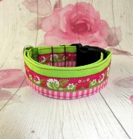 Hundehalsband Hawaii grün/pink im coolen Mustermix mit Klickverschluss