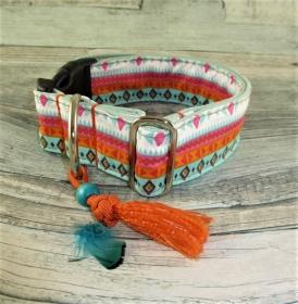 Hundehalsband Indie Halsband Hund verstellbar mit Leine wahlweise  Klickverschluss Kunststoff oder Metall Verschluss oder Zugstopp Verschluss
