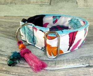 Hundehalsband  Pocahontas Halsband mit Klickverschluss verstellbar Kunststoffverschluss oder Metallverschluss breit mit Schmuckquaste
