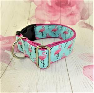 Hundehalsband Flamingo Bay Halsband Hund verstellbar mit Klickverschluss Kunststoffverschluss oder Metallverschluss wahlweise Zugstopp Verschluss  - Handarbeit kaufen