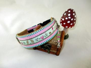 Hundehalsband Fairytale/rosa Halsband mit Klickverschluss Kunststoffverschluss und Kunstlederpolsterung