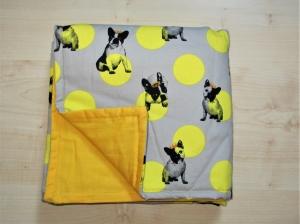 Hundedecke French Bully grau/gelb Kuscheldecke für Hunde Französiche Bulldogge gepolstert Tierdecke Schlafplatz Sitzschoner für Auto oder Couch  - Handarbeit kaufen