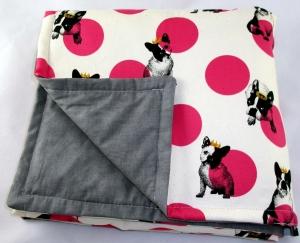 Hundedecke Hundedecke French Bully natur/pink Kuscheldecke für Hunde Französische Bulldogge Tierdecke Schlafplatz Sitzschoner für Auto oder Couch - Handarbeit kaufen
