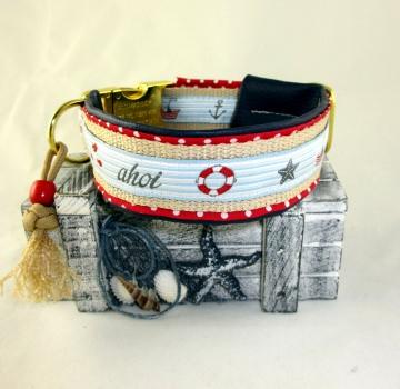 Hundehalsband Ahoi Halsband für Hunde maritim wahlweise Klickverschluss Kunststoff oder Metall Verschluss oder Zugstopp Verschluss gepolstert mit Kunstleder Polsterung  - Handarbeit kaufen