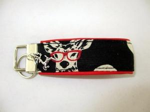Schlüsselanhänger Schlüsselband Hirsch mit Brille Anhänger für Schlüssel Oktoberfest mit Schlüsselring unterlegt mir Kunstleder - Handarbeit kaufen