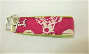 Hirsch Schlüsselanhänger/Schlüsselband pink/grün mit Kunstleder unterlegt