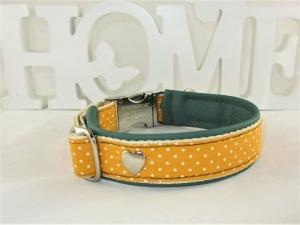Hundehalsband Herzenshund Halsband Hund mit Klickverschluss Kunststoff oder Metall mit Polsterung gepolstert mit Kunstleder wahlweise Zugstopp Verschluss  - Handarbeit kaufen
