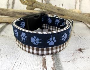 Hundehalsband Paws blau/braun Halsband Nylonhalsband Hund verstellbar Zugstopp oder Klickverschluss Kunststoff oder Metall Verschluss - Handarbeit kaufen