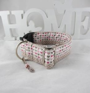 Hundehalsband Mein Herz taupe/rosa Halsband Nylonhalsband mit Klickverschluss Kunststoff oder Metall wahlweise Zugstopp Verschluss verstellbar breit - Handarbeit kaufen