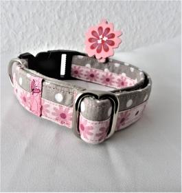 Hundehalsband Daisy Halsband Nylon verstellbar wahlweise Klickverschluss Kunststoff oder Metall oder Zugstopp Verschluss  - Handarbeit kaufen