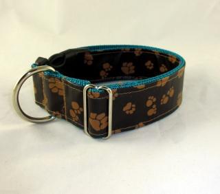 Hundehalsband Paws braun/petrol Halsband Hund verstellbar abwaschbar wasserfest schmutzabweisend mit Klickverschluss Kunststoff oder Metall Verschluss wahlweise Zugstopp