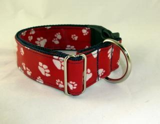 Hundehalsband Paws rot/dunkelblau Nylon Halsband verstellbar abwischbar wasserfest schmutzabweisend wahlweise mit Klickverschluss Kunststoff oder Metall oder Zugstopp Verschluss  - Handarbeit kaufen