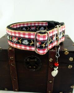 Hundehalsband Edelweiss Halsband Oktoberfest verstellbar wahlweise mit Klickverschluss Kunststoff oder Metall oder Zugstoppverschluss   - Handarbeit kaufen