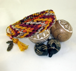 Hundehalsband Indian Summer Halsband Hund geflochten Flechthalsband Paracord breit wahlweise mit Klickverschluss Metall oder Kunststoff oder Zugstopp Verschluss   - Handarbeit kaufen